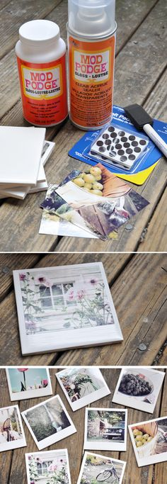 Instagram polaroid coasters - all you need is ceramic tiles, modge podge and felt circles.
