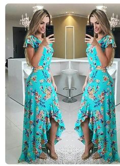 Fırfırlı Elbise Yeşil Uzun Kısa Kollu Asimetrik Kesim Etek Desenli - pionero de la cosmética, alimentación, moda y confección Ruffle Dress, Dress Skirt, Dress Up, Cute Dresses, Beautiful Dresses, Summer Dresses, Prom Dresses, Yeezy Outfit, Mode Outfits