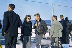 President John F. Kennedy and First Lady Jacqueline Kennedy attend the fourth race of the 1962 America's Cup aboard the USS Joseph P. Kennedy, Jr., off the coast of Newport, Rhode Island- JFK Library