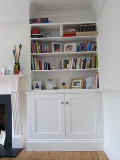 Alcove cupboards and shelves. Note the high Victorian skirting boards. Victorian Living Room, Victorian Fireplace, Faux Fireplace, Cottage Fireplace, Fireplace Garden, Fireplace Kitchen, Fireplace Bookshelves, Fireplace Cover, Fireplace Outdoor