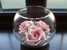 Rose and crystals in simple vase
