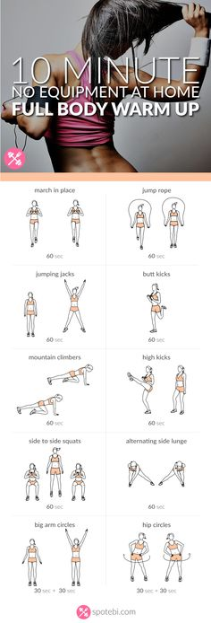 Complete this 10 minute warm up routine to prepare your entire body for a workout. Strengthen your heart and burn calories with these aerobic exercises. http://www.spotebi.com/workout-routines/10-minute-no-equipment-full-body-warm-up/