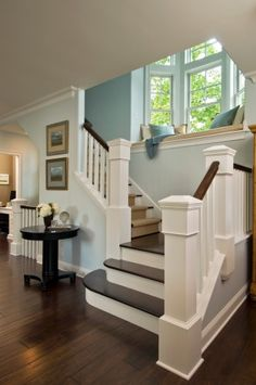 My fav house style is craftsman and these elements are spot on.  Luv the staircase and window seat make me wanna read