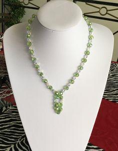 Peridot Light Crystal Bead Necklace by CrystallineGoddesss on Etsy