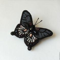"""Купить Брошь бабочка """"Черный парусник"""" - чёрно-белый, бабочка брошь, к платью, к пальто, к костюму"""