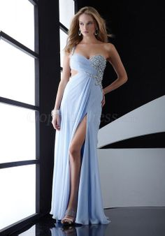 One Shoulder Front Split Prom Dress