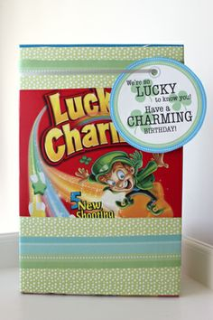QUICK gift idea!wrap up a box of Lucky Charms and stick on a printable tag!