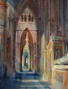 Alexander Creswell Watercolours - Back at Westminster Abbey