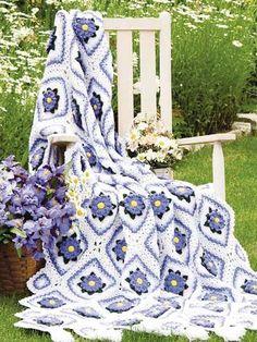 Crochet - Floral - Purple Mums Afghan