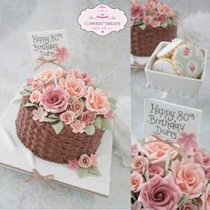 Basket of Roses for Doris - by cjsweettreats @ CakesDecor.com - cake decorating website
