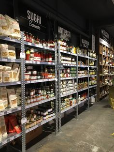 Industrial shelving might fit nicely into health store area. Convey value to consumer. Pharmacy Design, Retail Design, Supermarket Design, Industrial Shelving, Baking Supplies, Shop Interiors, Store Design, Grocery Store, Coffee Shop