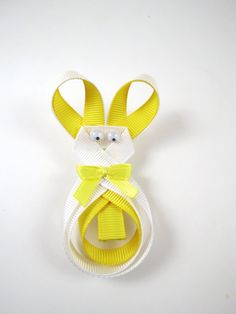 Easter Bunny Ribbon Sculpture Hair Clip by OhSoPrettyByAsia