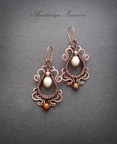 Earrings with pearls by nastya-iv83.deviantart.com on @deviantART
