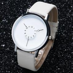 Leather Watch Women dress watches hour clock men fashion Casual watch Unisex Quartz watch relogio relojes W0706