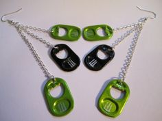Monster Energy Drink Tab Earrings - I could make these. Weird Jewelry, Cute Jewelry, Jewelry Crafts, Jewelry Accessories, Handmade Jewelry, Funky Earrings, Diy Earrings, Can Tab Crafts, Monster Crafts