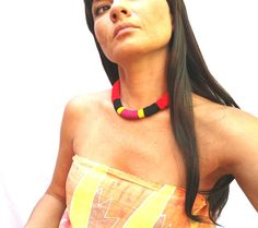 multicolored braided necklace tribal necklace by romualda on Etsy