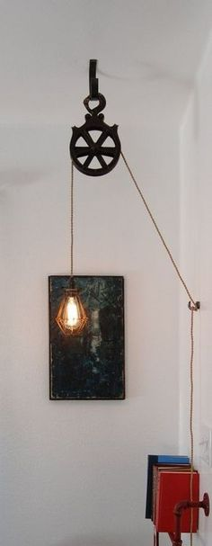 DIY Kit for Antique Cast Iron or Wood Pulley Lamp – Vintage Industrial Edison Fixture - Flaschenzug Ideen Luminaire Vintage, Deco Luminaire, Vintage Industrial Decor, Industrial House, Industrial Interiors, Industrial Style, Industrial Design, Vintage Wood, Industrial Lighting