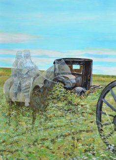 """This 16″x20″print is from the """"Ghost Of The Prairie"""" Series. The combination of a wagon wheel and an old car in the middle of nowhere would make anyone stop and wonder . At one time they were moving through this place on the prairie and decided to fade away here of all places. www.bergerfinearts.com"""