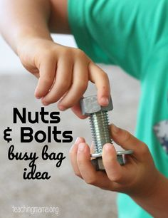 A simple idea for a nuts and bolts busy bag to keep kids busy. Airplane Activities, Preschool Learning Activities, Indoor Activities For Kids, Fun Learning, Toddler Activities, Family Activities, Preschool Projects, Winter Activities, Toddler Activity Bags