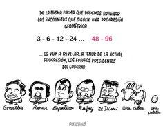 Progresión de los presidentes españoles.Viñeta de Aleix Saló.