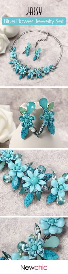 [Newchic Online Shopping] 52% OFF Blue Flower Jewelry Set - Best Holiday Gift for Women