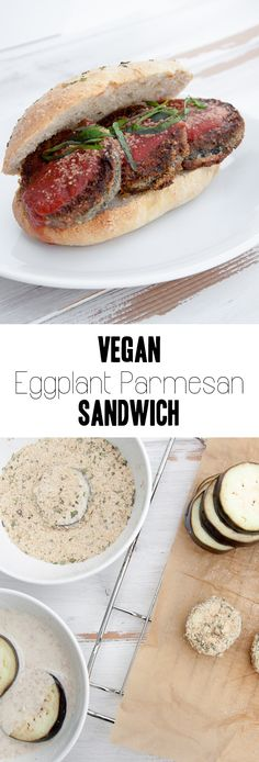 Vegan Eggplant Parmesan Sandwich via /elephantasticv/ Vegan Sandwich Recipes, Vegan Dinner Recipes, Delicious Vegan Recipes, Raw Food Recipes, Vegetarian Recipes, Vegan Sandwiches, Homemade Sandwich, Pescatarian Recipes, Eggplant Pizza Recipes