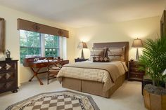 Brown Traditional Bedroom With Desk