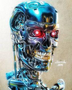 Cyborgs, Airbrush, Japanese Art, Robots, Drawing Ideas, Tattoo Ideas, Nostalgia, Sci Fi, Skull
