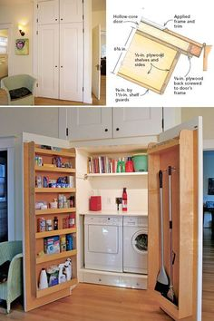 Laundry room closet DIY idea - LOTS of space in this tiny laundry room.  Such a clever idea!