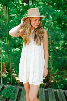 American Threads - Snow White Trapeze Dress, $46.99 (http://www.shopamericanthreads.com/snow-white-trapeze-dress/) #fashion #style #fedora #hat #lace #festivals #festivalstyle