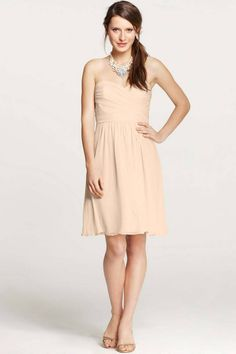 Ann Taylor - AT Bridesmaid Dresses - Silk Georgette Sweetheart Strapless Dress Knee Length Bridesmaid Dresses, Beautiful Bridesmaid Dresses, Cute Wedding Dress, 2015 Wedding Dresses, Cheap Bridesmaid Dresses, Wedding Dress Styles, Bridesmaids, Beige Dresses, Fall Dresses