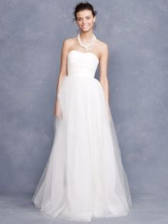 A-line Strapless Ruffles Sleeveless Floor-length Tulle Wedding Dresses For Brides