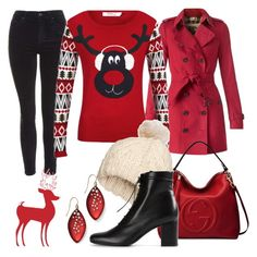 """""""Christmas Sweater"""" by hastypudding ❤ liked on Polyvore featuring Topshop, Burberry, ONLY, Gucci, H&M, Yves Saint Laurent, Alexis Bittar, Christmas, Sweater and fashionset"""