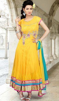 e1c8b0a47650c Plus Size Salwar Kameez Trendy Yellow Flared Embroidered Chudidar