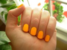 my favorite color to paint my nails. #neon #orange