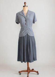 Vintage 1940s Grey Striped Suit Dress