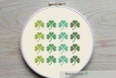 modern cross stitch pattern shamrock PDF   instant par Happinesst