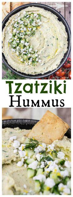 Tzatziki Hummus if you like tzatziki and you like hummus, you will LOVE this Tzatziki Hummus! is part of Hummus recipe - Tzatziki, Savory Snacks, Healthy Snacks, Healthy Eating, Vegetarian Recipes, Cooking Recipes, Healthy Recipes, Vegetable Recipes, Tapas