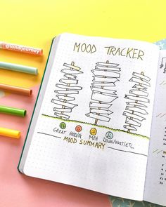 Bullet journal Mood tracker - New Site Bullet Journal Tracker, Bullet Journal Planner, Bullet Journal Notebook, Bullet Journal Themes, Bullet Journal Layout, Bullet Journal Inspiration, Book Journal, Journal Ideas, Bullet Journals