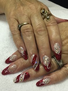 Christmas red acrylic and gel