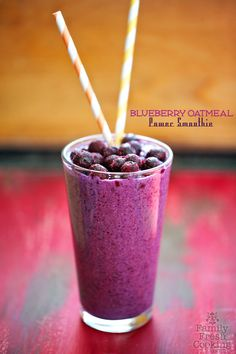 Blueberry Oatmeal Power Smoothie | Great for Breakfast or Anytime at all! FamilyFreshCooking.com