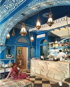 From Jaipur to Havana: The Best 11 Interiors of the Week. Jaipur's peacock-blue Bar Palladio. Morrocan Architecture, Architecture Design, Beautiful Architecture, Interior Design Instagram, Best Interior Design, Interior Decorating, Decorating Ideas, Waiting On A Friend, Bistro Interior