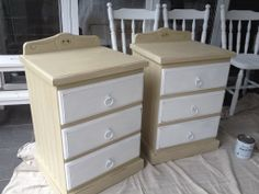 Freshly painted bed side tables in Annie Sloan pure white and country grey.