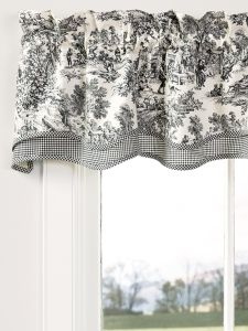 Enhance your windows with this Essex Toile Rod pocket Valance. Hang this valance on its own or with coordinating panels from our Essex Check Collection. The scalloped edge of this window valance will add an extra bit of elegance to any window. Country Decor, Kitchen Window Treatments, Country Kitchen Decor, Kitchen Valances, Toile Curtains, Country Kitchen Accessories, Country Home Decor, French Country Kitchens, French Country Curtains