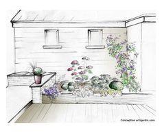 aménagement dessin d'un massif de fleurs paysagiste