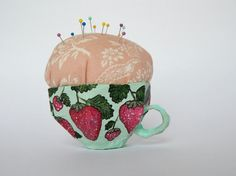 OOAK Pincushion // Paper-Mache Teacup Pincushion // Hand-Painted // Strawberries // Floral // Gift for Sewer