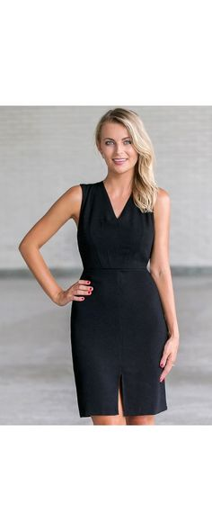 Lily Boutique Classic Staple Sleeveless Sheath Dress in Black, $34 Black Sheath Dress, Cute Black Work Dress, Black Cocktail Dress www.lilyboutique.com