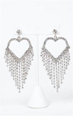 Deb Shops rhinestone heart earrings with stone fringe $10.12