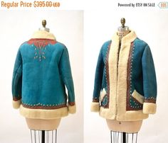 15% OFF SALE Vintage Embroidered Shearling Afghan by Hookedonhoney