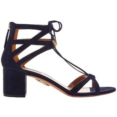 Aquazzura Women's Beverly Hills Suede Sandals ($695) ❤ liked on Polyvore featuring shoes, sandals, navy, suede lace up sandals, lace-up sandals, aquazzura sandals, navy blue shoes and navy block heel sandals